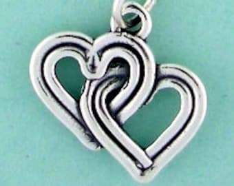 Sterling Silver Double Heart Charm Pendant Entwined Hearts Love Reversable