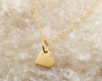 Dainty Heart Necklace Gold Plated Sterling Silver Love Heart Charm Pendant Cable Chain