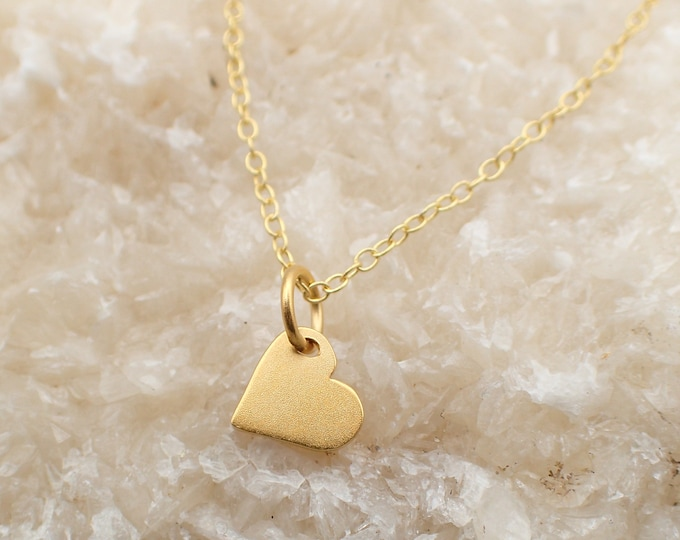 Featured listing image: Dainty Heart Necklace Gold Plated Sterling Silver Love Heart Charm Pendant Cable Chain