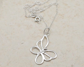 Butterfly Necklace Sterling Silver Dainty Insect Charm Pendant Cable Chain Bug Garden