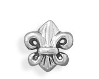 Fleur De Lis Charm Bead Sterling Silver 925 Fits European Style Bracelets