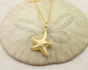 Starfish Necklace Gold Plated Sterling Silver Beach Charm Pendant Dainty Cable Chain Star Fish