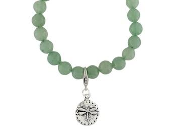 Pewter Dragonfly Charm Bracelet Green Aventurine Bead Stretch Round Stone