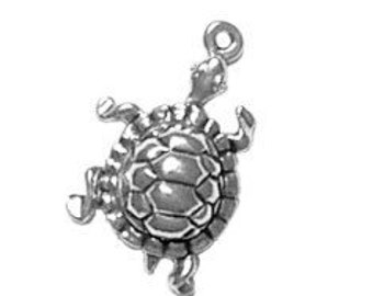 Turtle Charm Sterling Silver Pendant Tortoise Animal