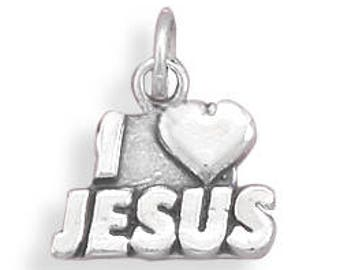 I Love Jesus Charm 925 Sterling Silver Pendant religious heart words