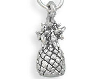 Sterling Silver Pineapple Charm Pendant Tropical Fruit