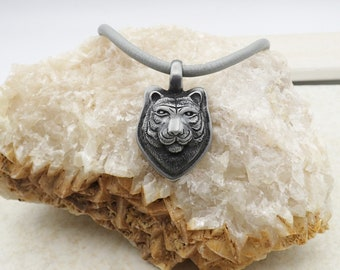 Tiger Pendant Necklace Leather Charm Stainless Steel Magnetic Clasp