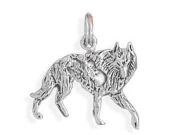 Wolf Charm Sterling Silver Pendant Walking Animal