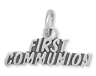First Communion Charm 925 Sterling Silver Pendant religious