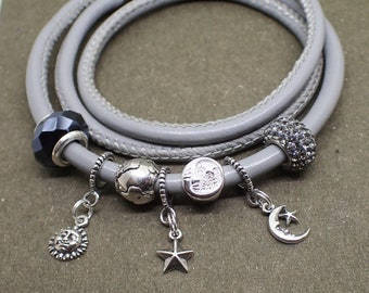Celestial Charm Bracelet Crystal Sterling Silver Beads Gray Leather Stainless Steel Magnetic Clasp