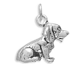Beagle Dog Charm 925 Sterling Silver Pendant Pet Animal Rescue Canine