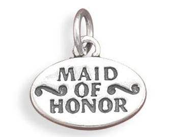 Maid of Honor Charm 925 Sterling Silver Pendant Wedding Party Bride Bridal