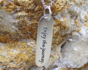 Enjoy the Journey Necklace Sterling Silver Message Charm Pendant Cable Chain