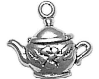 Floral Tea Pot Teapot Charm Sterling Silver Pendant Drink Food Flower