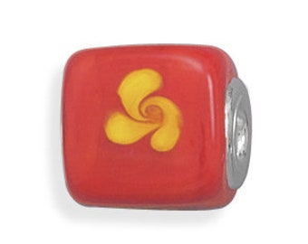 Yellow Swirl on Orange Glass Cube Charm Bead Sterling Silver Core Large Hole