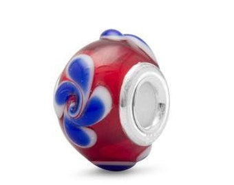 Red White and Blue Glass Charm Bead Sterling Silver Core Large Hole Flower Floral Swirl