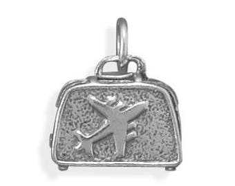 Suitcase Charm 925 Sterling Silver Pendant 3d Carry on Luggage Airplane Travel