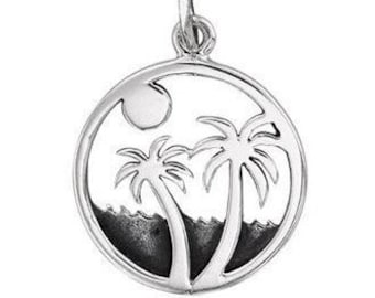 Layered Beach Palm Tree Sterling Silver Ocean Charm Pendant