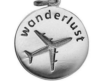 Wanderlust Charm Sterling Silver Airplane Travel Pendant
