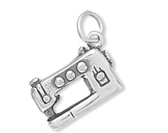 Sewing Machine Charm 925 Sterling Silver Pendant 3d Seamstress Crafts Fabric