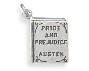 Sterling Silver Pride and Prejudice Book Charm Pendant Literature school