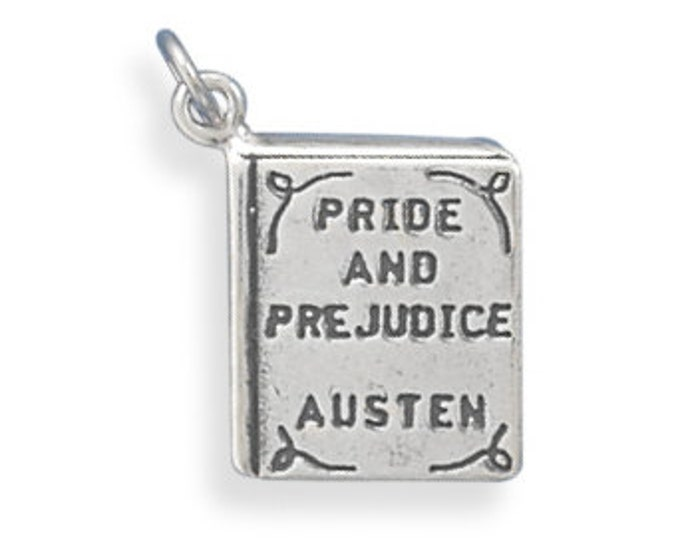 Featured listing image: Sterling Silver Pride and Prejudice Book Charm Pendant Literature school