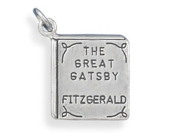 Sterling Silver Great Gatsby Book Charm Pendant Literature School