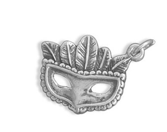 Sterling Silver Masquerade Mask Charm Pendant Feathers Mardi Gras Costume