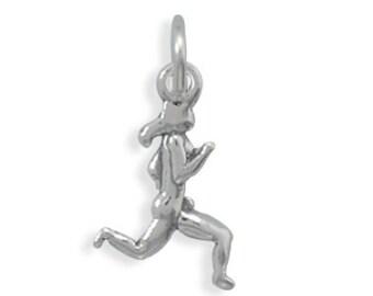 Sterling Silver Runner Marathon Charm Pendant Female