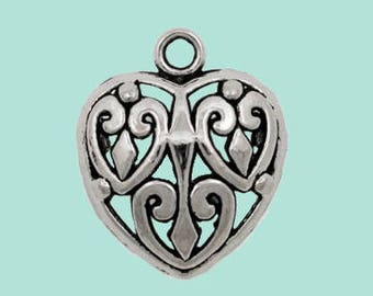 Puffy Filigree Heart Pendant Pewter with Antique Silver Tone Finish Large Size Comes with Jump Ring