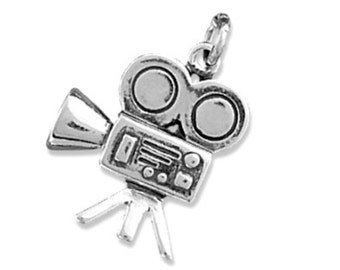 Sterling Silver Movie Camera Charm Pendant