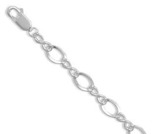 """Starter Charm Bracelet Figure Eight Link Sterling Silver 7"""" Link"""