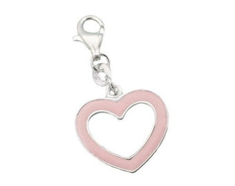 Peachy Pink Enamel Heart Charm 925 Sterling Silver Lobster Claw Clasp Love Valentine