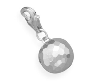 Faceted Ball Charm 925 Sterling Silver Lobster Claw Clasp