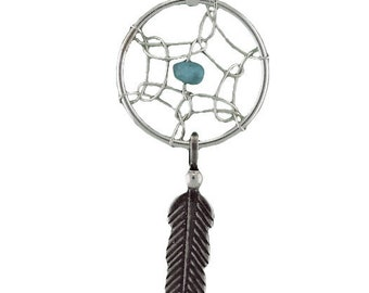 Sterling Silver Dreamcatcher with Feather Necklace and Turquoise