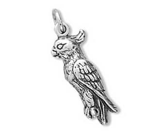 Cockatiel Charm 925 Sterling Silver Pendant 3d bird parrot