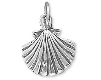 Seashell Charm Sterling Silver Pendant Clam Sea Shell Beach