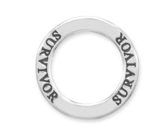 Sterling Silver Survivor Circle Charm Pendant Words Affirmation