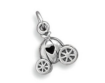 Sterling Silver Princess Pumpkin Carriage Charm Heart Love 3D