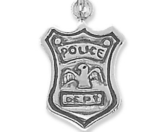 Sterling Silver Policeman Badge Charm Pendant Police Shield