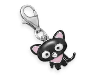 Cat Charm 925 Sterling Silver Black Epoxy Lobster Claw Clasp Kitty Pet Animal