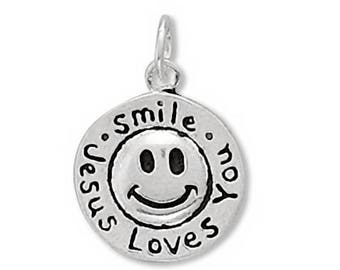 Smile Jesus Loves You Charm 925 Sterling Silver Pendant religious