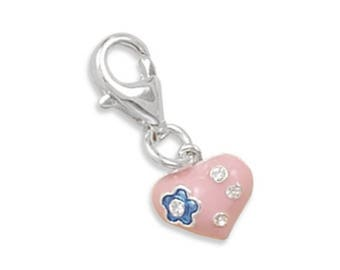 Heart Charm 925 Sterling Silver Pink Epoxy CZ Accent Lobster Claw Clasp Love