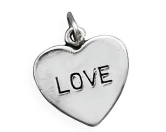 Love Heart Charm 925 Sterling Silver Pendant Valentine Wedding