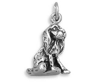 Cocker Spaniel Dog Charm 925 Sterling Silver Pendant Pet Animal Rescue Canine
