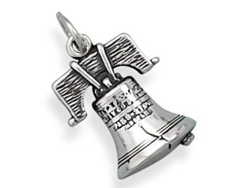 Sterling Silver Liberty Bell Charm Pendant America Symbol History