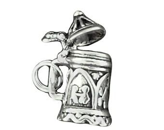 Sterling Silver Beer Stein Charm Lid Opens German Mug Pendant 3D