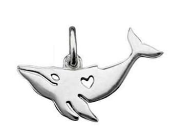 Cut Out Heart Whale Charm Sterling Silver Pendant Fluke Ocean Marine Life