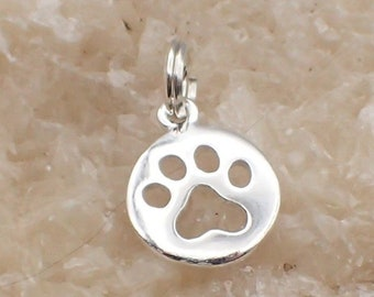 Paw Print Charm Sterling Silver Small Round Pawprint Pendant