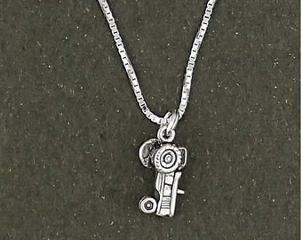 Sterling Silver Tractor Charm Pendant Necklace with Box Chain